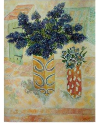 """World Menagerie 'Ceanthus and Pansies' Watercolor Painting Print on Wrapped Canvas WRME2848 Size: 32"""" H x 24"""" W x 2"""" D"""