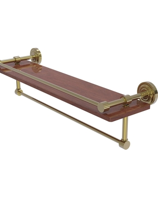 Allied Brass Dottingham Collection 22 in. IPE Ironwood Shelf with Gallery Rail and Towel Bar in Unlacquered Brass