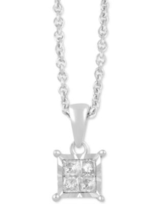 Diamond Princess Cluster Pendant Necklace (1/10 ct. t.w.) in Sterling Silver