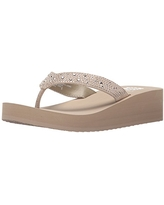 Yellow Box womens Africa Wedge Flip Flop, Taupe, 8.5 US