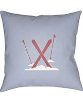 """The Holiday Aisle Square Indoor/Outdoor Throw Pillow THDA8965 Size: 18"""" H x 18"""" W x 4"""" D, Color: Blue / Red / White"""