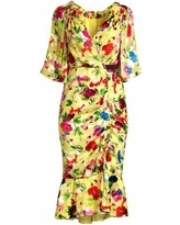 Floral Shift Midi Dress - Yellow - Saloni Dresses