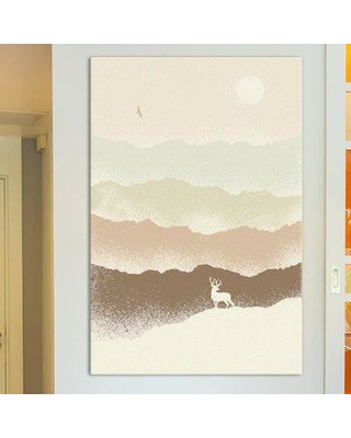 """East Urban Home 'Deer Mountain' Painting Print on Wrapped Canvas ESTN6349 Size: 40"""" H x 26"""" W x 0.75"""" D"""