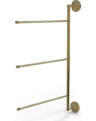 Allied Brass Prestige Regal Collection 3 Swing Arm Vertical 28 in. Towel Bar in Unlacquered Brass