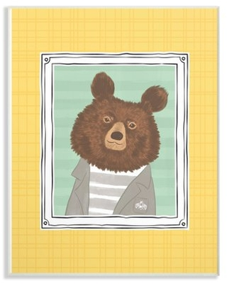 The Kids Room by Stupell Bear Portrait Yellow Oversized Wall Plaque Art, 13 x 0.5 x 19