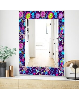 Designart 'Romantic Doodle Floral Texture' Mid-Century Mirror - Wall Mirror (23.7 in. wide x 31.5 in. high)