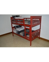 Zoomie Kids Swainsboro Bunk Bed, Bed Frame, Wood/Solid Wood in Tractor Red, Size Twin Over Full | Wayfair 00339E8949154624AA6B483BE965D02B