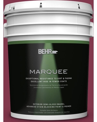 BEHR MARQUEE 5 gal. #S-H-100 Exotic Flowers Semi-Gloss Enamel Exterior Paint & Primer