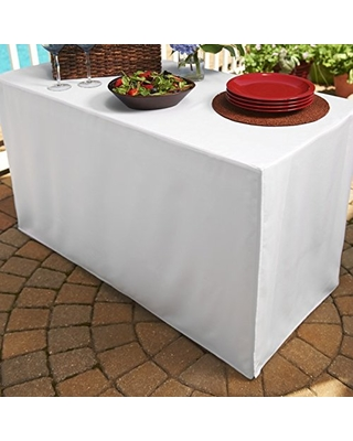 Folding Table Cover Fitted Tablecloth For 6 Foot Folding Table White
