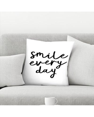 """East Urban Home Smile Every Day Throw Pillow EBHW1657 Size: 14"""" x 14"""" Color: White"""