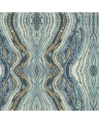 York Wallcoverings Kashmir Kaleidoscope Abstract Wallpaper BH8 Color: Blues / White