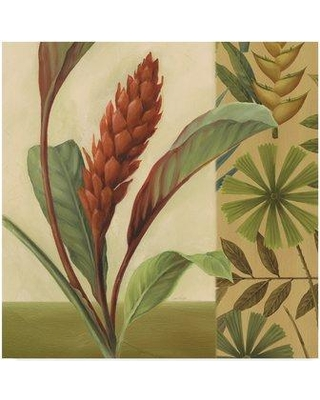 """East Urban Home 'Flowers of Paradise 1 Gold' Acrylic Painting Print on Wrapped Canvas EBHV3105 Size: 14"""" H x 14"""" W"""