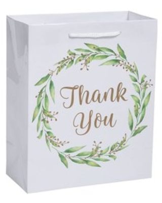 Thank You Greenery Med Gift Bags (Dz) - Party Supplies - 12 Pieces