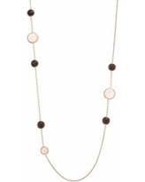 """Siri USA by TJM 18k Rose Gold Over Silver Rose Quartz & Onyx Long Necklace, Women's, Size: 30"""", multicolor"""