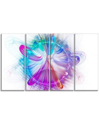 """Design Art 'Vortices of Energy Fractal' Graphic Art Print Multi-Piece Image on Canvas, Canvas & Fabric in White/Pink, Size Medium 25""""-32"""" 