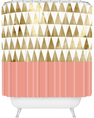 Georgiana Paraschiv Triangles Shower Curtain Gold Shimmer