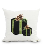 Nature's Gift 16 Inch Black Holiday Print Decorative Outdoor Throw Pillow