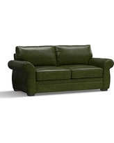 "Pearce Leather Sofa 81"", Down Blend Wrapped Cushions, Leather Legacy Forest Green"