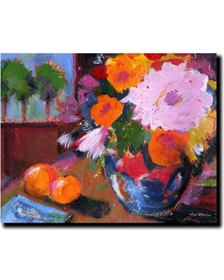 """Trademark Art """"Two Oranges"""" by Sheila Golden Framed Painting Print on Wrapped Canvas SG5618-C1824GG"""