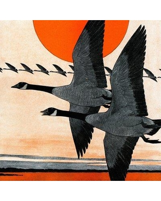 """Marmont Hill 'Two Geese' Painting Print on Wrapped Canvas MH-LDGCU-05-C- Size: 40"""" H x 40"""" W x 1.5"""" D"""