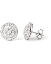 Imperial 1/2Ct TDW Diamond Double Halo Stud Earrings in 10K White Gold (H-I, I2)
