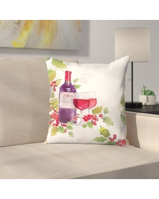 """Holly & Wine Throw Pillow East Urban Home Size: 20"""" x 20"""""""