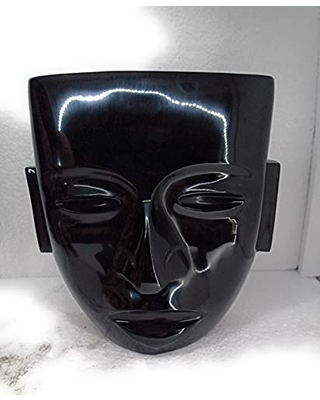 Archaeological black obsidian blac mask, stone, Aztec teotuhuacan mask, decorative stone,