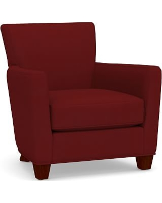 Irving Square Arm Upholstered Armchair without Nailheads, Polyester Wrapped Cushions, Twill Sierra Red