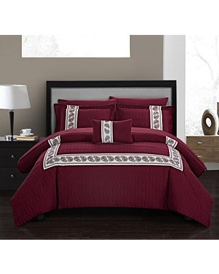 Chic Home Titian 8 Piece Comforter Hotel Collection Hexagon Embossed Paisley Print Border Design Bed in a Bag-Sheet Set Decorative Pillow Shams Included, King, Burgundy