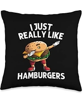Best Sandwich & Fast Food Meat Cooking Accessories Funny Hamburger Gift For Men Women Burger Cheeseburger Food Throw Pillow, 16x16, Multicolor