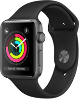 AppleWatch Series3 GPS, 42mm Space Gray Aluminum Case with Black Sport Band
