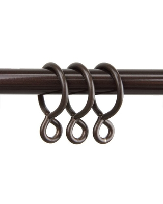 Rod Desyne 10 Count Eyelet Curtain Rings, 1-Inch, Cocoa