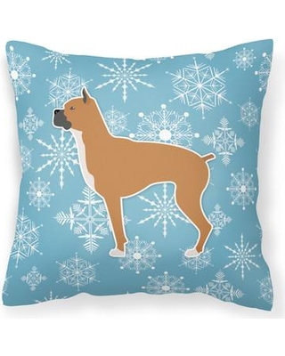 """East Urban Home Winter Snowflakes Indoor/Outdoor Throw Pillow EUME9075 Size: 14"""" H x 14"""" W x 3"""" D"""