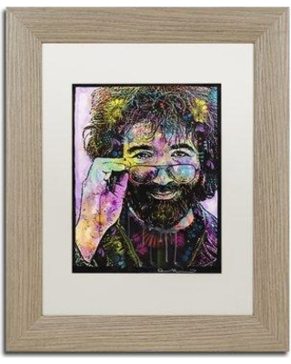 "Trademark Fine Art 'Jerry Garcia' by Dean Russo Framed Graphic Art ALI2625-T1 Size: 14"" H x 11"" W x 0.5"" D Matte Color: White"