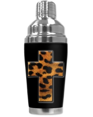 "Mugzie ""Spotted Leopard Cross"" Cocktail Shaker with Insulated Wetsuit Cover, 16 oz, Black"