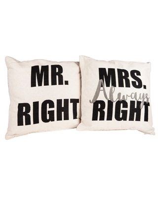 Danya B. Mr. Right and Mrs. Always Right Decorative Quote Accent Throw Pillows – A Unique Couples Gift Idea