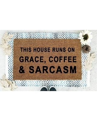 This House Runs on Grace Coffee and Sarcasm Coir 30 in. x 18 in. Non-Slip Indoor Door Mat BoldBear®Brands