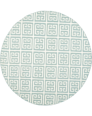 7' Woven Geometric Round Area Rug Blue - Safavieh, Blue/Ivory