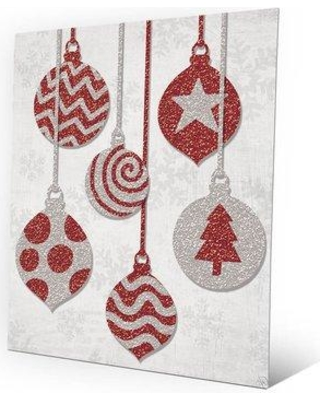 """Click Wall Art 'Hanging Ornaments Red' Graphic Art on Plaque GXM0000085MTL Size: 10"""" H x 8"""" W x 1"""" D"""
