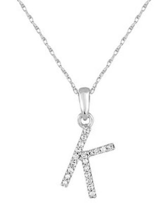 Joelle 14k Gold and Diamond Letter Necklace - Initial Pendant 16-18 inch Chain - Personalized Gift For Her (K - White)