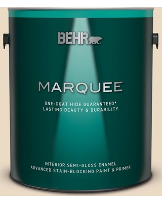 BEHR MARQUEE 1 gal. #YL-W06 Navajo White Semi-Gloss Enamel Interior Paint and Primer in One