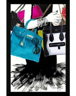 """House of Hampton 'My Bags Are Designer' Framed Watercolor Painting Print W000691725 Size: 39.5"""" H x 27.5"""" W x 0.75"""" D"""