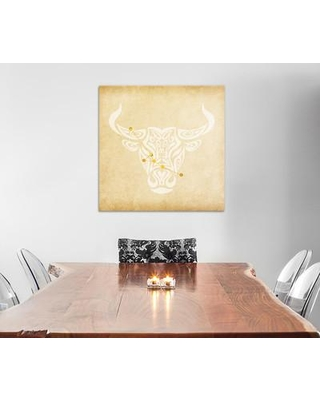 """East Urban Home Reliable Bull with Constellation Graphic Art on Wrapped Canvas ESRB2533 Size: 12"""" H x 12"""" W x 1.5"""" D"""