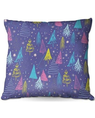 """Ebern Designs San Marcos Couch Christmas Town Trees Throw Pillow W000747654 Size: 18"""" x 18"""""""