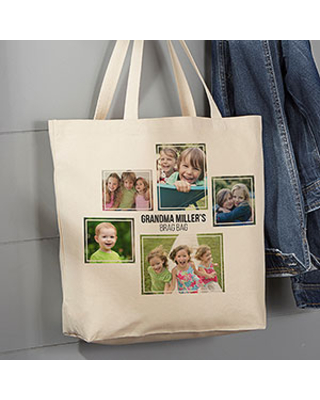 Personalized 5 Photo Collage Canvas Tote Bag - Large