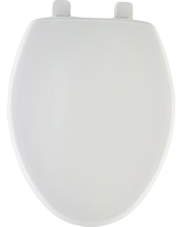 Elongated Plastic Toilet Seat with Whisper•Close with Easy•Clean & Change Hinge, Sta-Tite - White - Mayfair