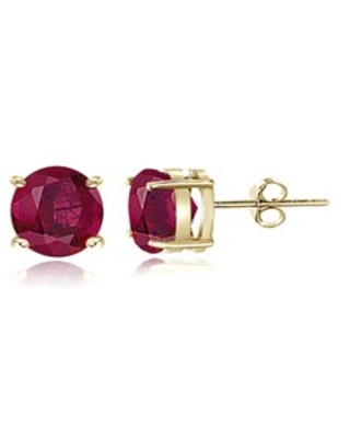 Glitzy Rocks Sterling Silver 1 1/5ct Glass Filled Ruby Stud Earrings, 5 mm (Gold Plate - Yellow)