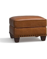 Irving Leather Storage Ottoman, Bronze Nailheads, Polyester Wrapped Cushions, Leather Vintage Caramel
