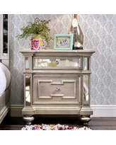 Furniture of America Eaen Contemporary Champagne Solid Wood Nightstand (Silver)
