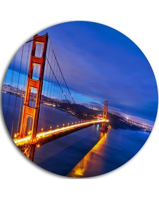 """'Golden Gate in Blue Background' Photographic Print on Metal Design Art Size: 38"""" H x 38"""" W x 1"""" D"""